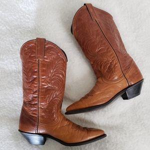 Acme VTG Leather Cognac Brown Tan Cowboy Boots